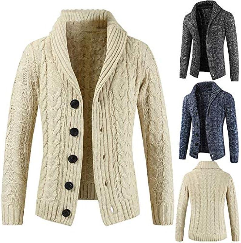 Jakflyzel męski sweter cardigan na jesień zima męski sweter Revers Cardigan Button Knit Sweater Coat: Odzież