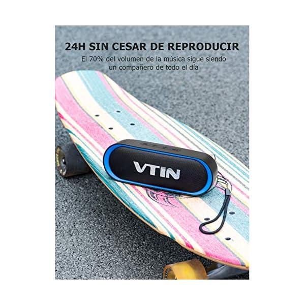 VTIN R4 Enceinte Bluetooth V5.0, Haut Parleur Bluetooth Portable 10W, Haut-Parleur Waterproof, 24H de Lecture, avec Microphone, Support AUX/TF, pour Téléphone Portable, Tablette, MP3, Soirée, Voyage 4
