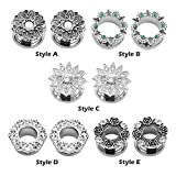 4 gauge plugs - Qmcandy 1 Pair Stainless Steel Hollow Rose with Crystal Gems Screw Back Ear Tunnel Stretcher 2g-5/8