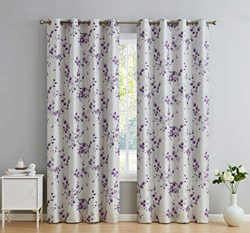 HLC.ME Jasmine Floral Faux Silk 100 Blackout Room Darkening Thermal Insulated Curtain Grommet Panels For Bedroom