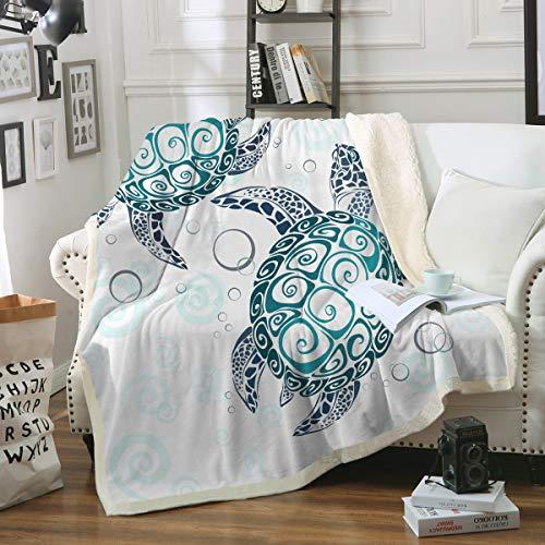 Sleepwish Sea Turtle Fleece Throw Blanket Royal Aqua Blue Abstract Tortoise Blanket Kid Sherpa Blanket Perfect for Couch Sofa or Bed (50