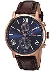 Tommy Hilfiger Mens ALDEN Quartz Stainless Steel and Leather Casual Watch, Color:Brown (Model: 1791308)
