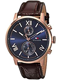 Men's 'ALDEN' Quartz Stainless Steel and Leather Casual Watch, Color:Brown (Model: 1791308)