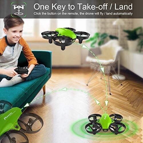 Potensic A20 Mini Drone Amélioré Avez Deux Batteries , Hélicoptère RC avec Vol Stationnaire, Mode sans Tête et Télécommande 3 Niveaux de Vitesse Jouet Cadeau pour Enfant et Débutants - Vert