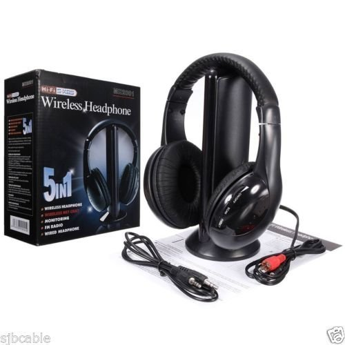 New 5 in 1 Hi-Fi Wireless Headset Headphone Earphone for TV DVD MP3 PC Black by New Unbrand