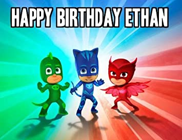 PJ MASKS Image Photo Cake Topper Sheet Personalized Custom Customized Birthday Party - 1/4