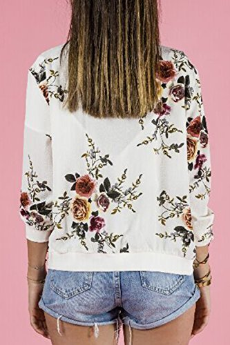 Zip Up Full Chaqueta Stand Print White Bomber La Es Jumojufol Mujer Elegante Collar Floral qUzv164w1