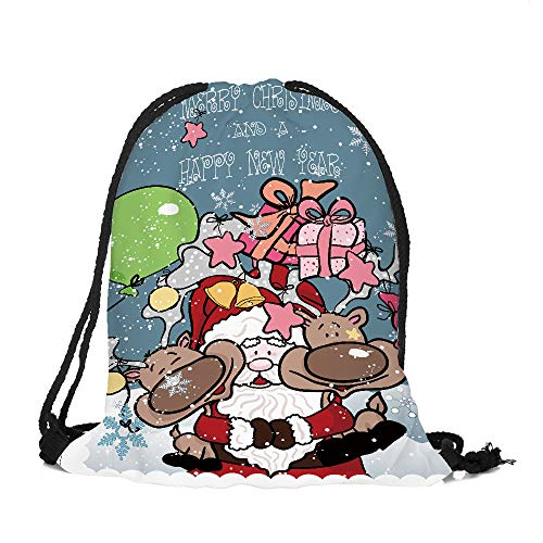 ✈ HYIRI Big Merry Christmas Candy Bag Pocket Drawstring Ba