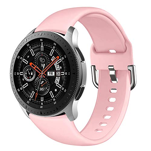 GHIJKL Compatible Samsung Galaxy Watch 46mm Bands, Gear S3 Frontier/Classic Band, Soft Silicone Breathable Replacement Sport Strap Wristband for Galaxy Watch 46mm/Gear S3, Women, Small, Pink
