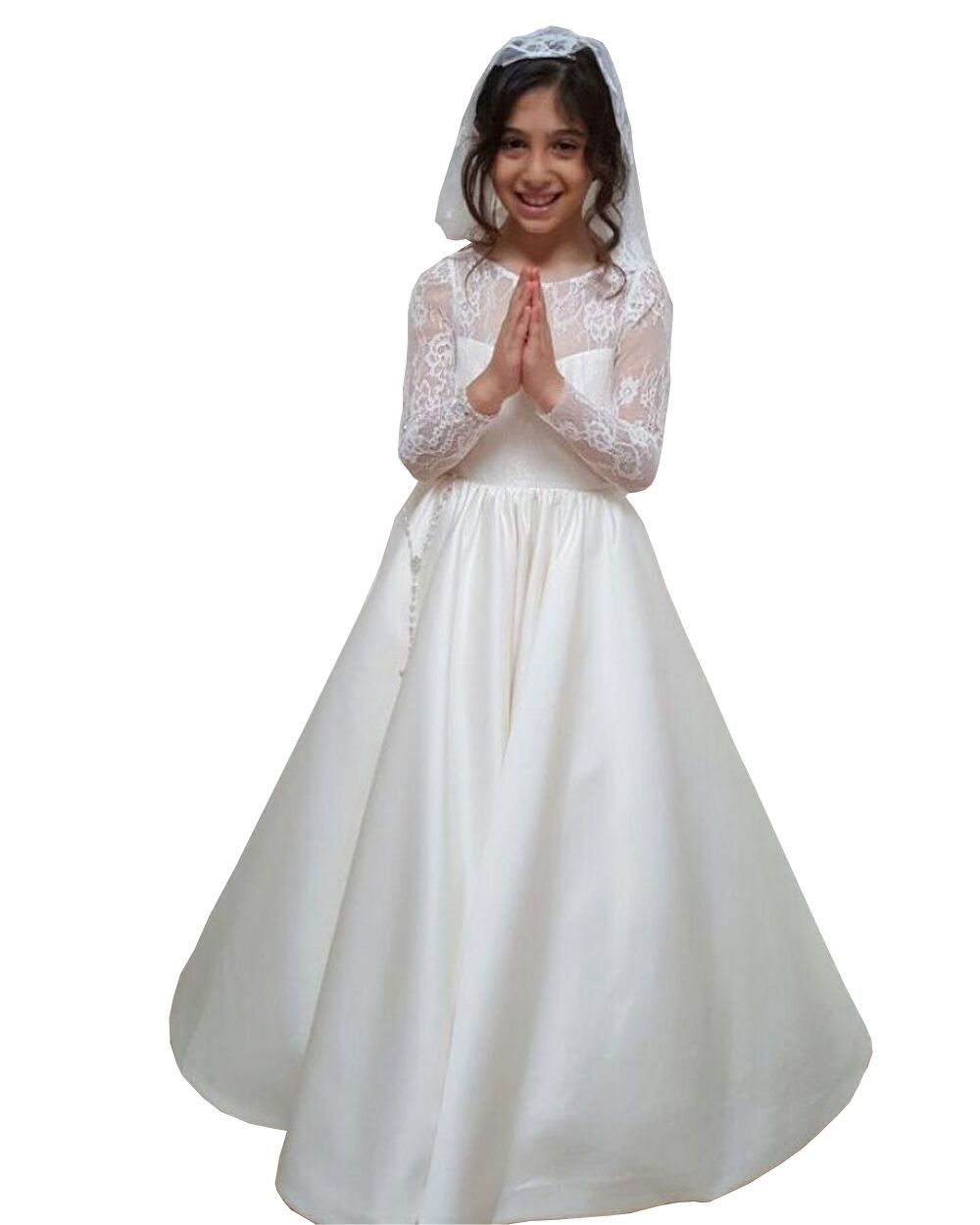 Banfvting Vintage Lace Satin Flower Girl Dress Long Sleeves