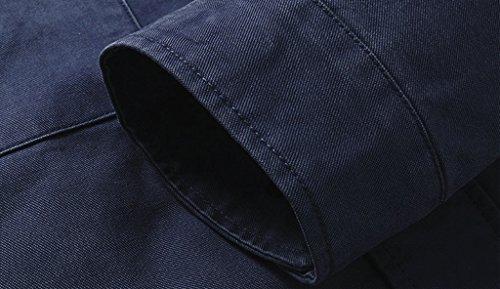 Blu In Cappuccio Giacca Cotone Leggero Con Sfoderabile Wantdo Uomo 8a5qTq