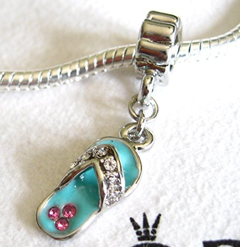 Flip Flop Summer Beach Sandal Charm European Dangle Bead Fits Pandora Bracelets ()