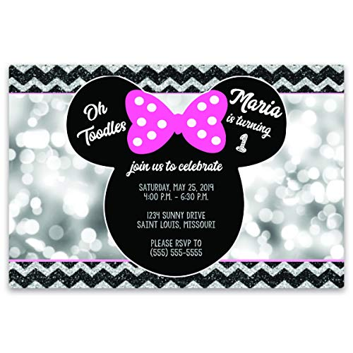 The Melange Market Personalized | Minnie Mouse | Birthday Party Invitation | Bokah Background |20 invites with envelopes