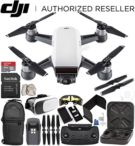 DJI Spark Portable Mini Drone Quadcopter (Alpine White) + DJI Spark Remote Controller Everything You Need Starter Bundle