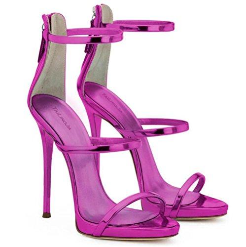 xie Chaussures pour femmes Cuir verni Les bretelles Rome Robe Talon aiguille Fête club Des sandales Taille 35 à 45 PURPLE-EU37 UgeeA6tzT