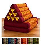 Two Fold Thai Cushion, 47x20x3 inches (LxWxH), 100 % Natural Kapok Filling, Foldable Thai Mat with Triangle Cushion, Headrest, Thai Pillow