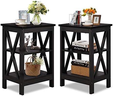 VECELO Modern Versatile Nightstands X-Design Side End Table Night Stand Storage Shelf