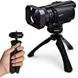 iGadgitz PT310 Black Mini Lightweight Table Top Stand Tripod and Grip Stabilizer for Sony FDR-AX100EB, CX240E, HDR-CX405, HDR-PJ620, HDR-PJ410, HDRPJ810 Full HD Camcorders