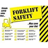 "Accuform Signs PST754 Safety Awareness Poster, ""FORKLIFT SAFETY"", 18"" Length x 24"" Width, Laminated Flexible Plastic"