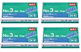 MAX No.3-1M Flat Clinch Staples (24/6) for Office Stapler - 4 Boxes (4,000-Staples)