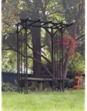 Panacea Products 89088 Steel Flat Top Arbor with Finials, Black