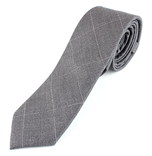 Men's Cotton Skinny Necktie Colorful Cross Stich Pattern - Light Gray with White
