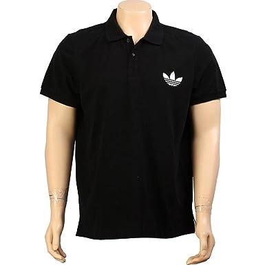 adidas Pique Polo Escudo Camiseta - Negro/Blanco (Hombres): Amazon ...