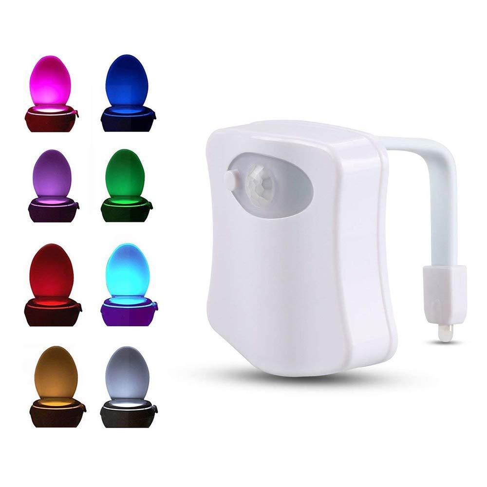 WC luce notturna, Puao movimento attivato WC LED 8 cambia colore, adatto per qualsiasi WC, bianco 5.00W Puao movimento attivato WC LED 8cambia colore