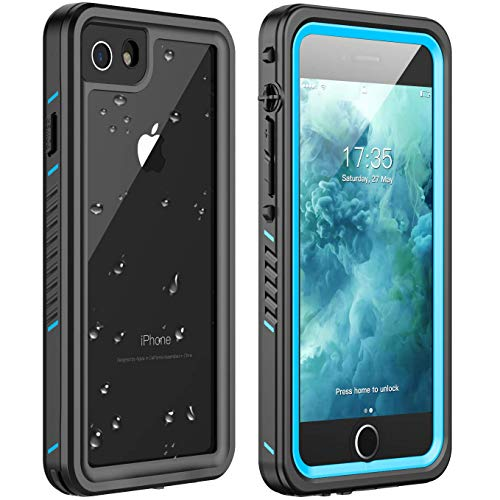 iPhone 7 Waterproof Case,iPhone 8 Waterproof Case. Huakay Full Body 360° Protective Shockproof Dirtproof Sandproof IP68 Phone Case for iPhone 7/iPhone 8 (4.7inch) (Blue/Clear)