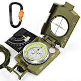 Multifunction Compass,TAFULOR Waterproof and Shockproof Military Sighting Compass for Camping Hiking, Equipped with Inclinometer and Portable Bag Aluminum Alloy Carabiner.