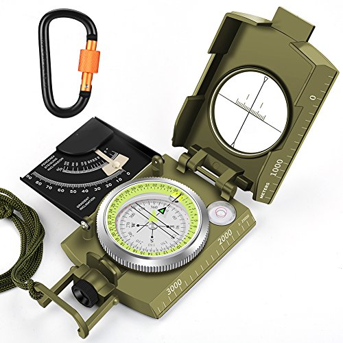 Multifunction Compass,TAFULOR Waterproof and Shockproof Military Sighting Compass for Camping Hiking, Equipped with Inclinometer and Portable Bag Aluminum Alloy Carabiner. by TAFULOR