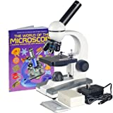 AmScope 40X-1000X Biological Science Compound Microscope w 10pc Slide Collection & Book