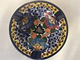 Talavera Ceramic Ashtray 4 1/2'' Modern Art Design Authentic Puebla Mexico Pottery Hand Painted Design Vivid Colorful Art Decor Signed [Black Center]
