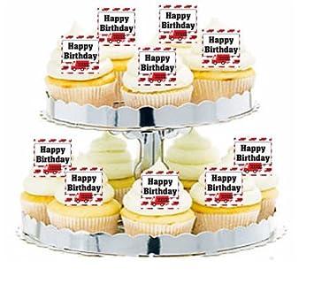 CakeSupplyShop Item24277 Fire Engine Happy Birthday Cupcake Food Appetizer Decoration Topper Picks