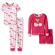 Gerber Little Girls' Four-Piece Cotton Pajama Set, Cherries, 12 Months