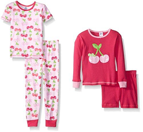 4 Piece Cherry Girl - Gerber Little Girls' Four-Piece Cotton Pajama Set, Cherries, 12 Months