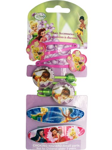 Tinkerbell Hair Accessories - Disney Tinkerbell And Fairy Friends Hair Snap Clips (6 Pieces) - Fairies ()