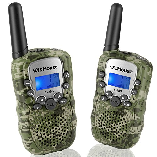 Wishouse Walkie Talkies for Kids,Popular Toys for Boys and Girls Best Handheld Woki Toki with Flashlight,License free Kids Survival Gear for Hunting and Outdoor Adventure(T388 Camouflage 2 Pack)]()