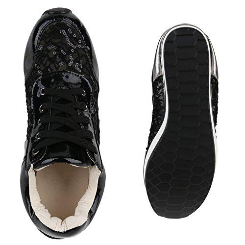 Stiefelparadies Damen Sneaker Wedges Sportschuhe Schnürer Lack Glitzer Turnschuhe Keilabsatz Schuhe Metallic Freizeitschuhe Flandell Schwarz Pailetten