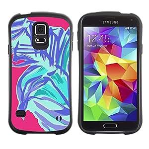 LASTONE PHONE CASE / Suave Silicona Caso Carcasa de Caucho Funda para Samsung Galaxy S5 SM-G900 / Palm Tree Abstract Art Purple Pink Blue