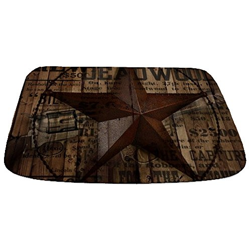 CafePress - Primitive Texas Lone Star Cowboy - Decorative Bathmat, Memory Foam Bath Rug -