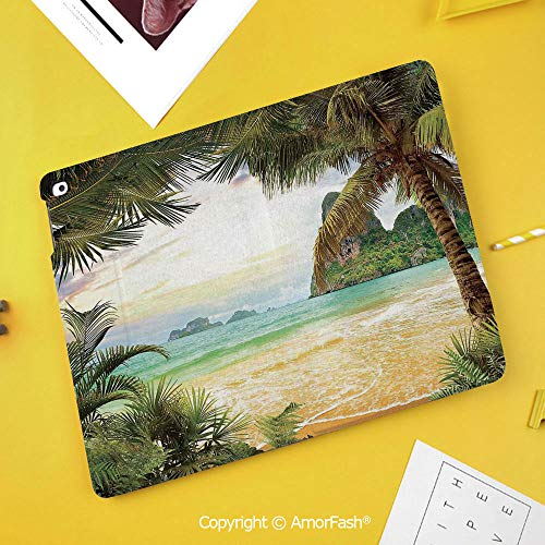 Printed Case for Samsung Galaxy Tab S4 Corner Protection Premium Vegan Leather Stand Cover,Ocean,Palm Coconut Trees and Ocean Waves Across Mountains on Paradise Island Beach Image,Green Brown Cream