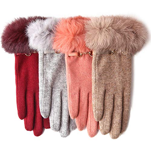 WARMEN WOOL FELTED GLOVES - Winter warm lined thick fleece lining touchscreen texting gloves rabbit fur trimming cuff (One size, Beige)