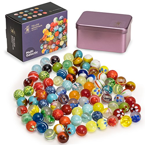 "Yellow Mountain Imports Marbles Set in Tin Box, ""Multi Galactic"""