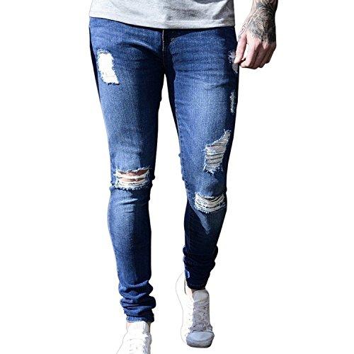 3d704b84fde3a Memoriesed Mens Brand Skinny Jeans Casual Hip hop Trousers 2018 Denim Black  Jeans Homme,Dark Blue Hole,M