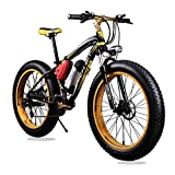Updated Yellow Black Richbit Fat Tire Electric Bike 350W Motor Electric Mountain Bicycle with Shimano 21 Speeds Suspension Fork Disc Brake