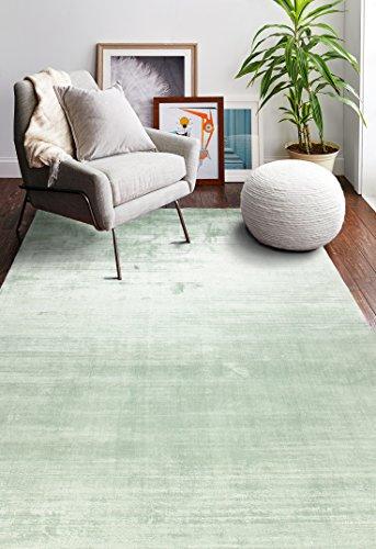 Bashian Radiance collection WZ hand loomed 100% banana silk area rug 5.6X8.6 Seafoam ()