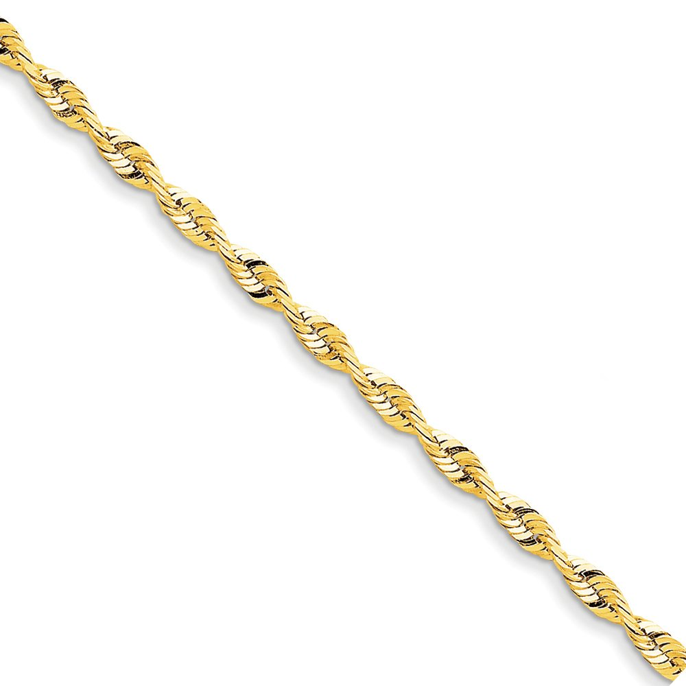 4mm 14k Yellow Gold Diamond Cut Rope Chain Bracelet, 8 Inch