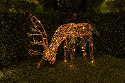 (Alpine Corporation Outdoor/Indoor Rattan Grazing Reindeer with Lights - Christmas and Holiday Decoration for Yard -)