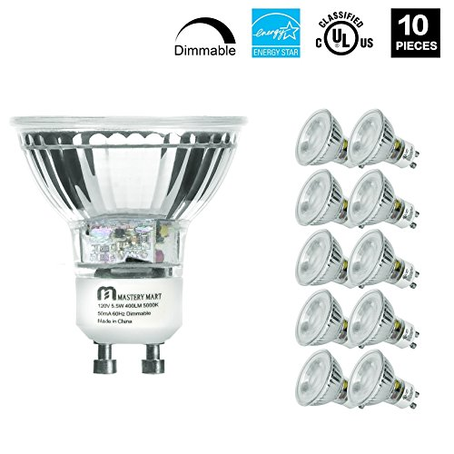 LED GU10 Spotlight Light Bulbs, 50 Watt Equivalent, 5.5W Dimmable, Full Glass Cover Reflector, 5000K Daylight, 25000 Hours, UL Listed, Energy Star Certified, by Mastery Mart (Pack of 10) (Spotlight Bulbs Light)